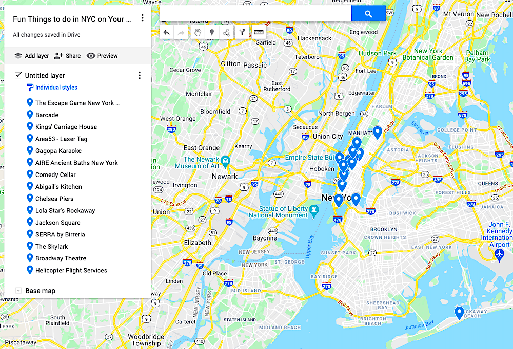 Map of fun things to do in NYC on your birthday.