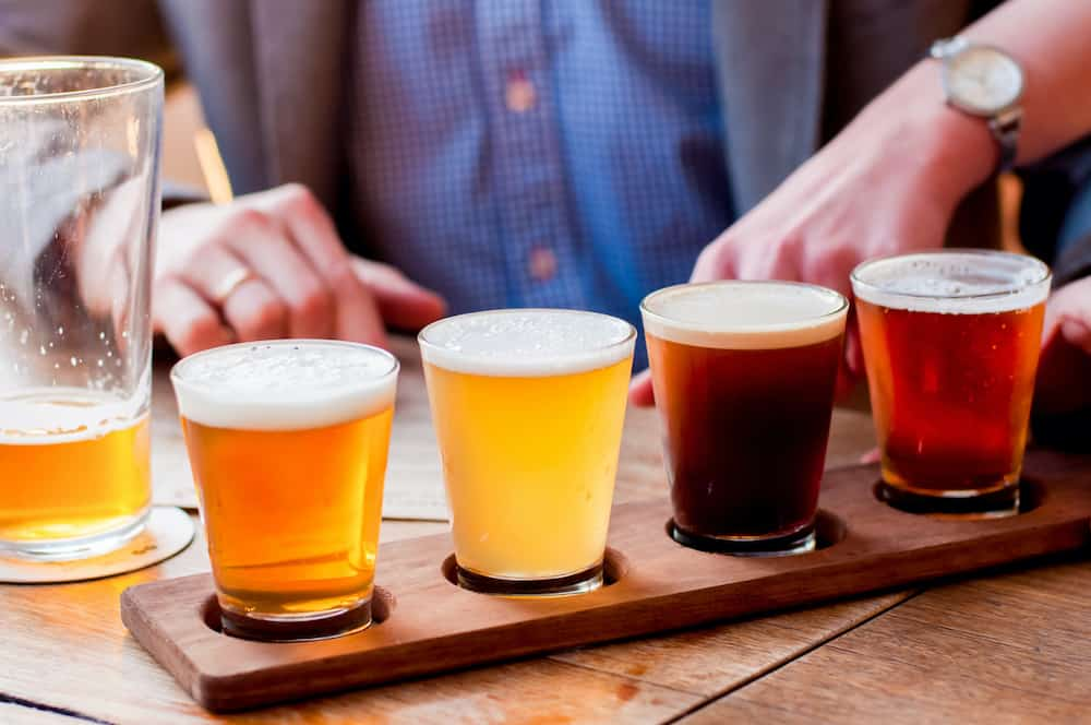A flight of beers from Sebago Brewing Co.