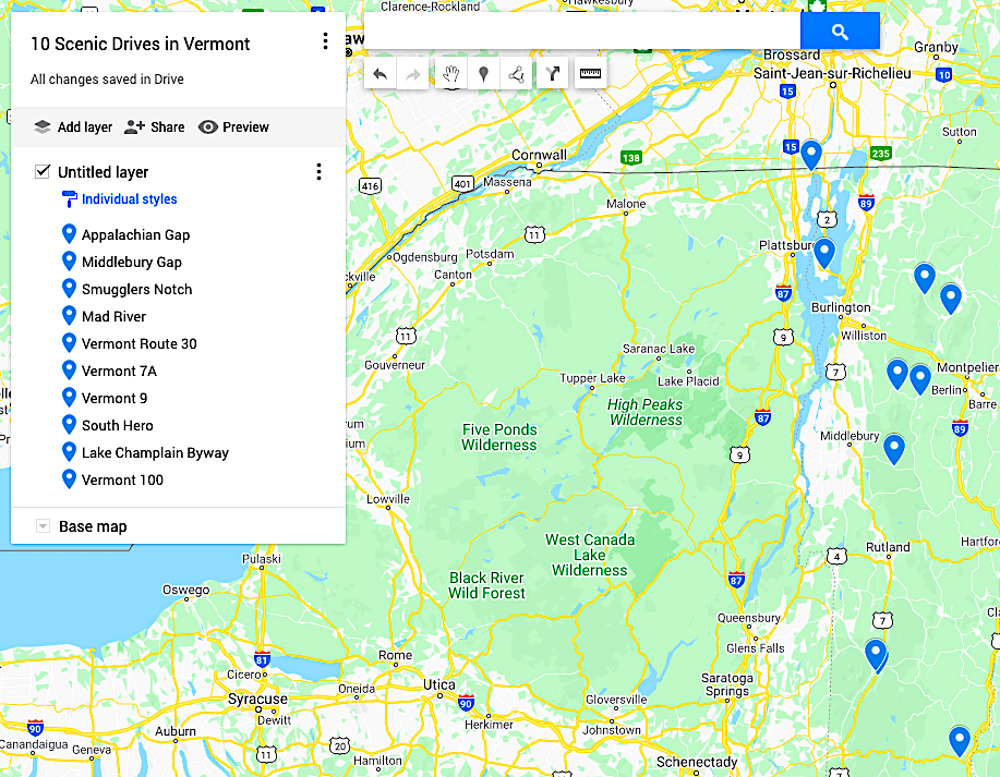 Best Scenic Drives in Vermont Map