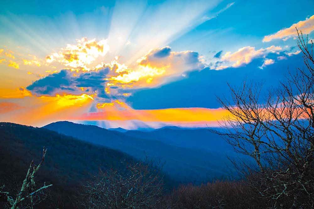 Sunset at Craggy Gardens Visitor near Asheville, North Carolina.