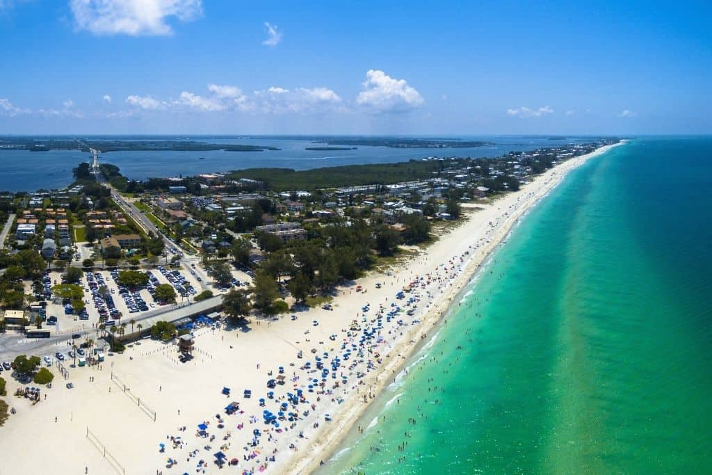 Aerial view of the beaches on Anna Maria island in Florida.