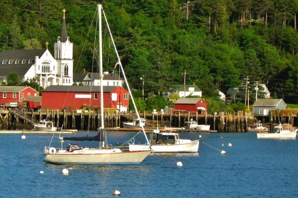 Boats in the harbor in Boothbay Harbor Maine