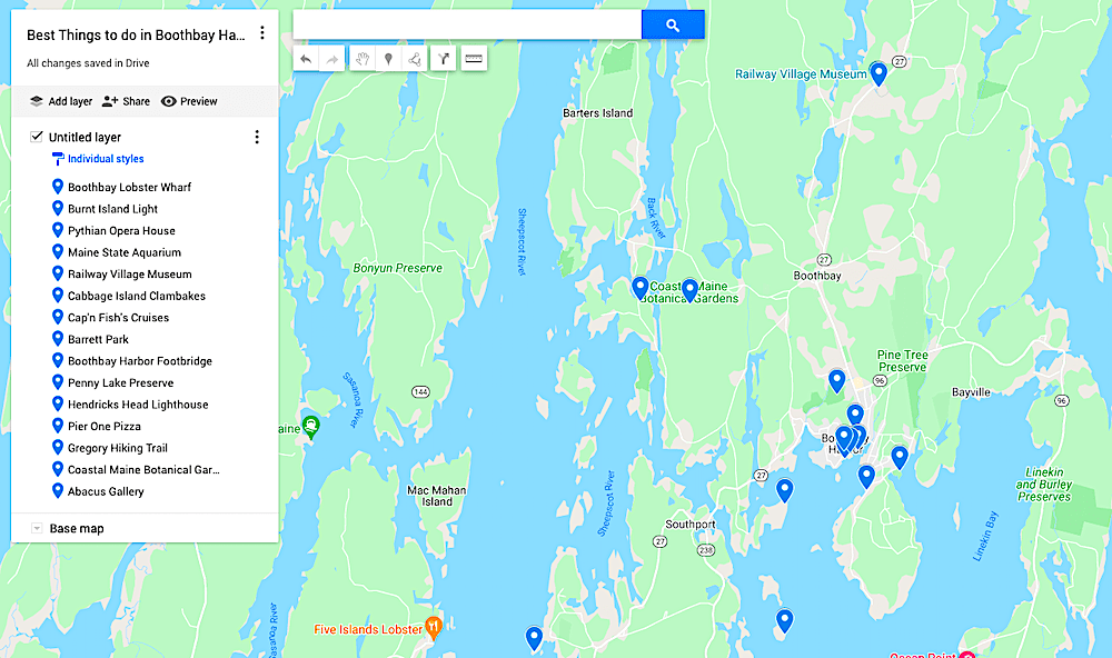 Map of the best things to do in Boothbay Harbor, Maine.