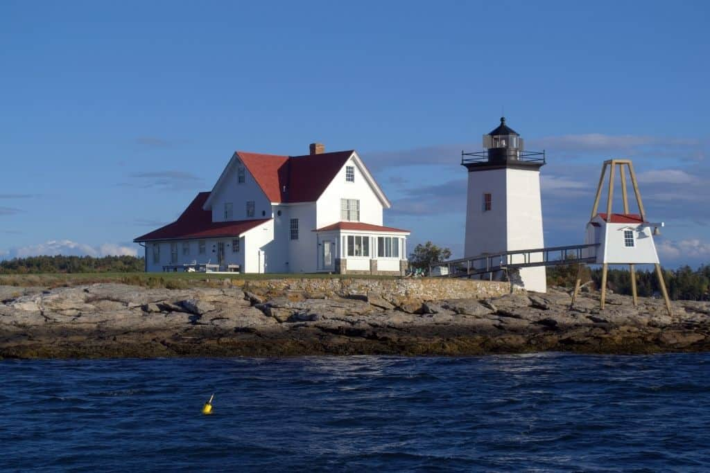 A view of Hendrick's Head Lighthouse from the water.