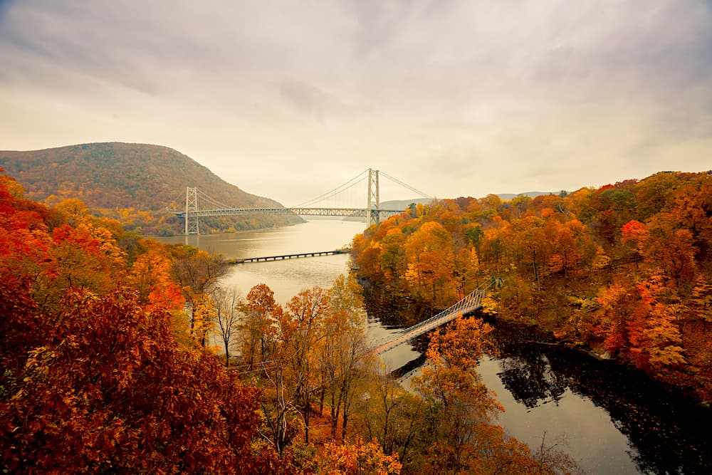 Toned image of Bear Mountain Bridge taken from the Popolopen Bridge.