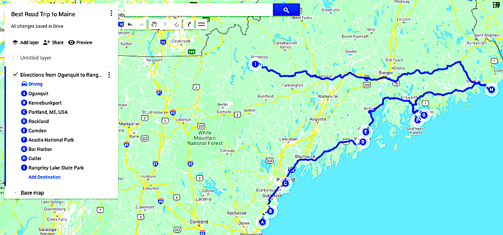 Map of the Best Road trip to Maine