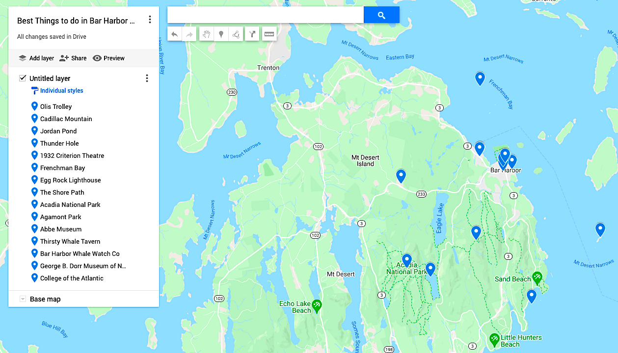 Map of the best things to do in Bar Harbor Maine