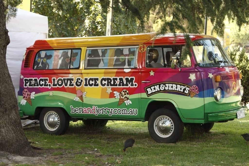 Rainbow colored Ben and Jerry's Van