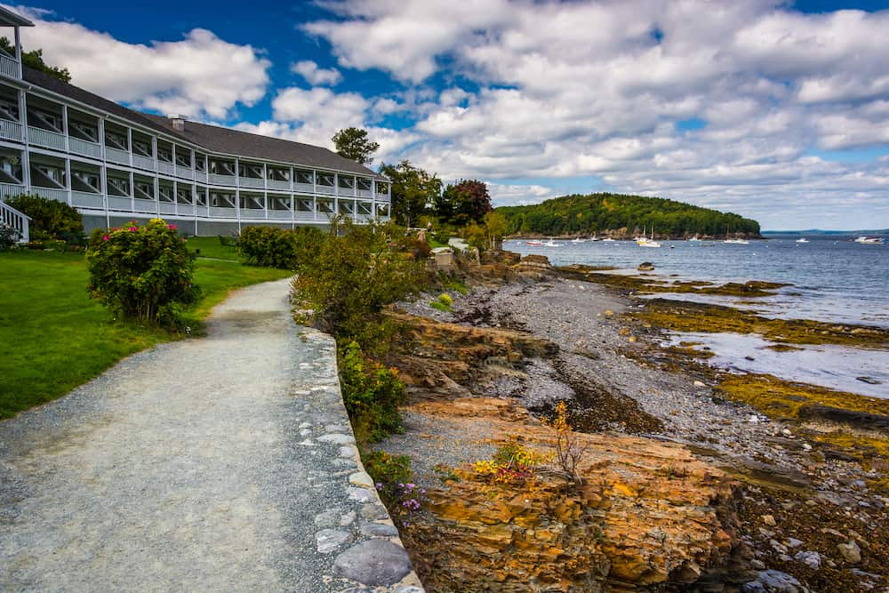 The view of ther waterfront from the Shore Path in Bar Harbor.
