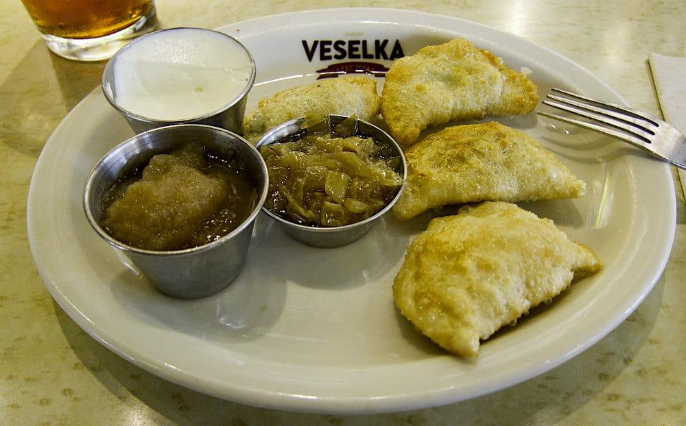 A plate of fried pierogi from Veselka in NYC.