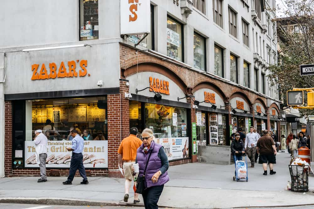 Zabars is a specialty food store located on the corner of Broadway and West 80th Street. It is famous for its delicacies and a variety of cheeses.