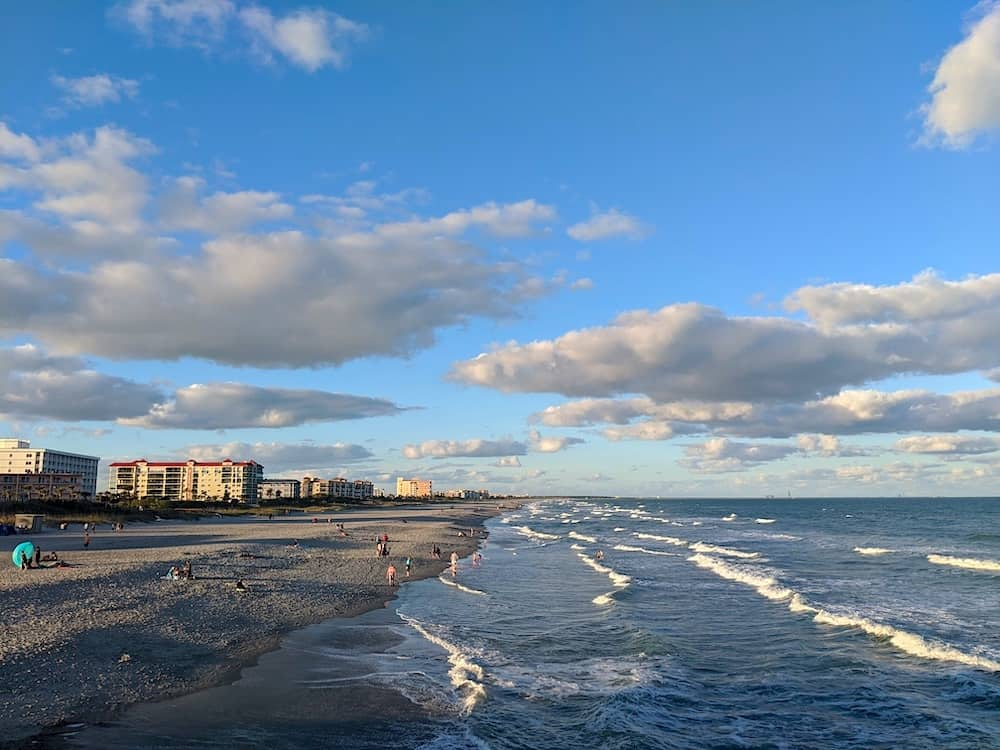 View of Cocoa Beach in the evening in Orlando, Florida, one of the best honeymoon destinations in the USA.