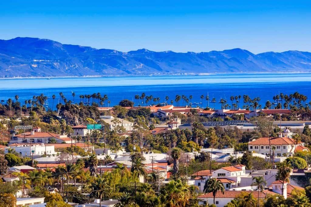 Aerial view of buildings along the coast in Santa Barbara, California.