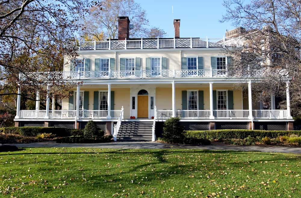 Front porch and beautiful exterior of Gracie Mansion on the Upper East side.