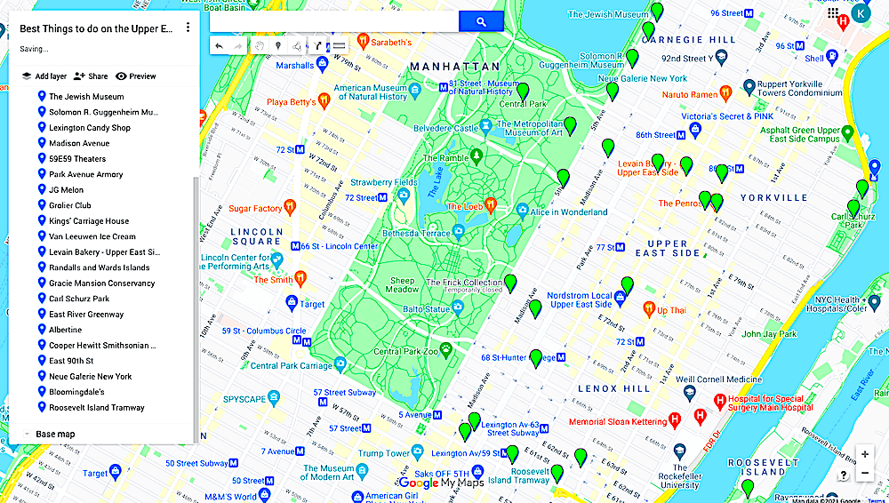Map of the best things to do on the Upper East Side NYC