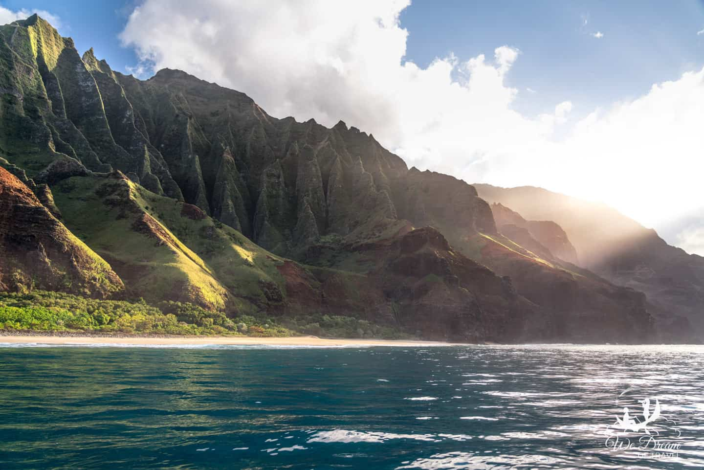View of the Nepali Coast in Kauai from the water.