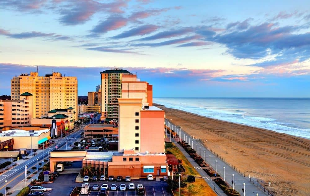 Aerial view of Virginia Beach in the Winter. One of many warm places in US.