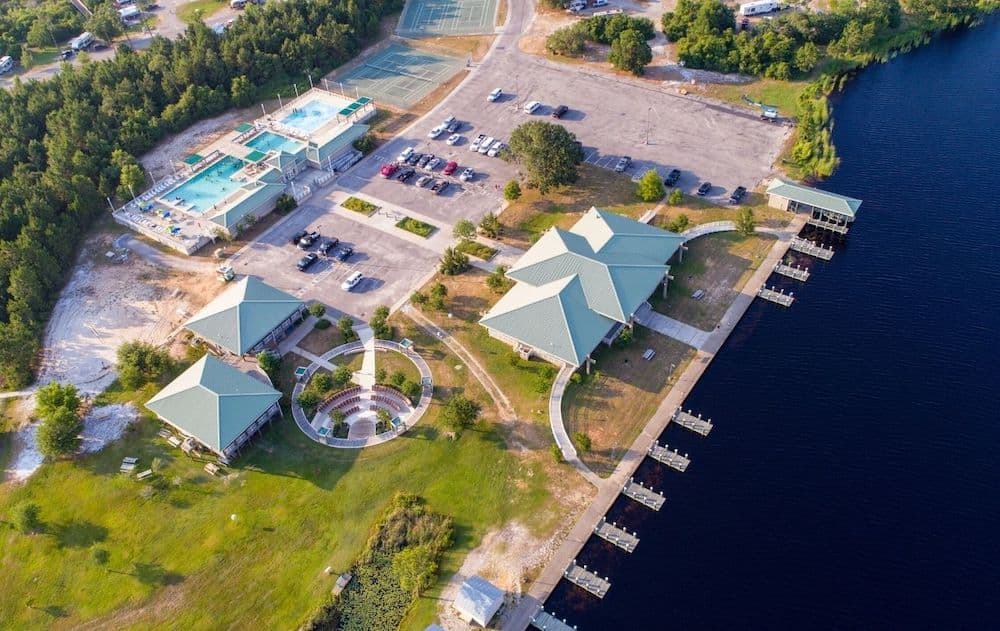 Aerial view of Gold Shores Alabama, one of the warm places to visit in December in the USA