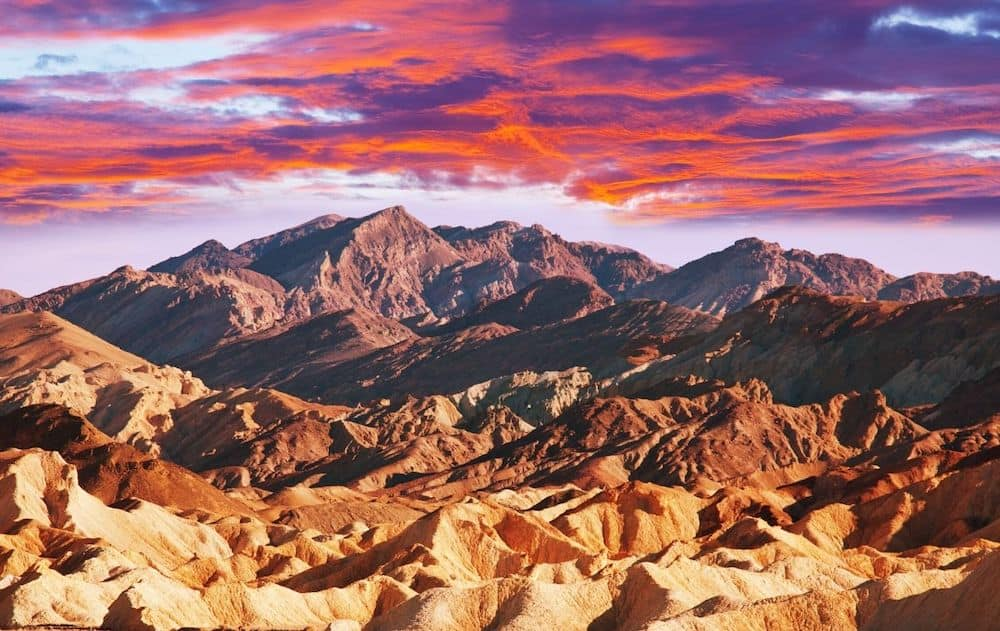Sunset in Death Valley National Park in California.