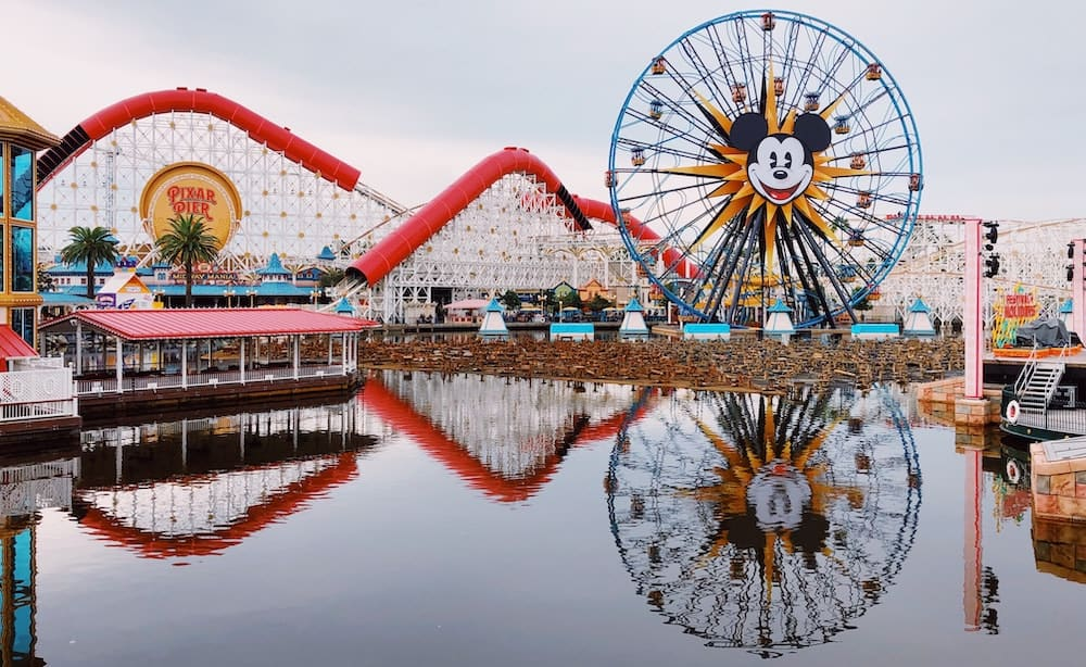 Roller coaster with Mickey on it in Disneyland.