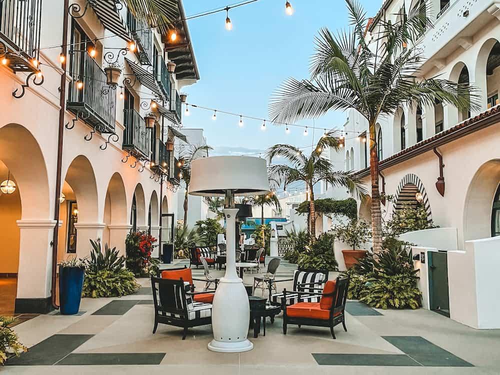Local hotel and walking promenade in Santa Barbara, California.