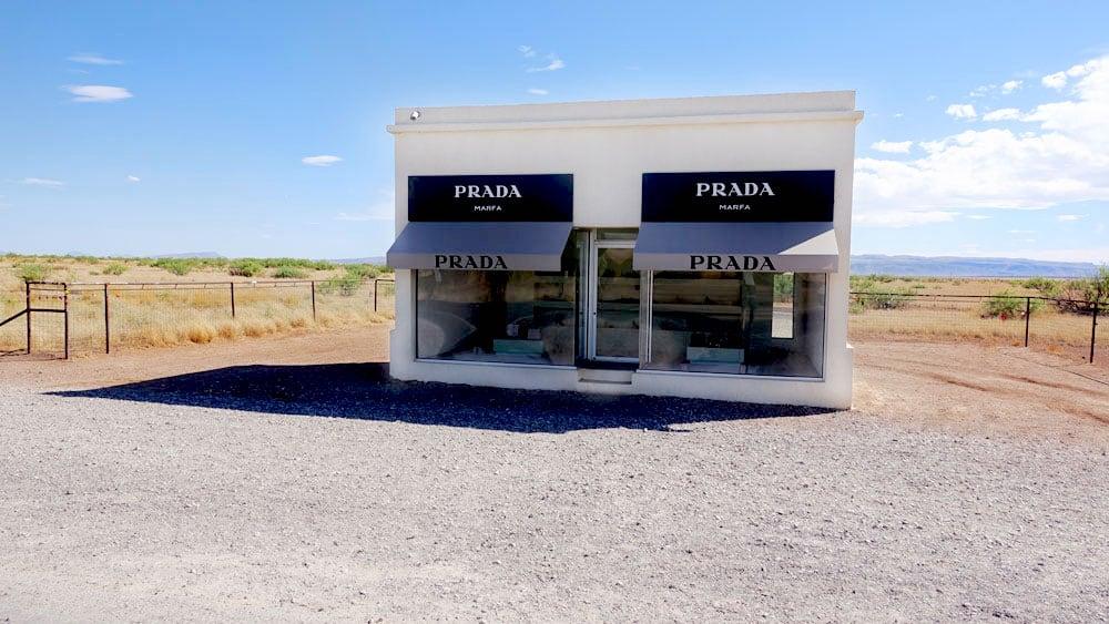 Vacant Prada storefront just outside of Marfa, Texas.