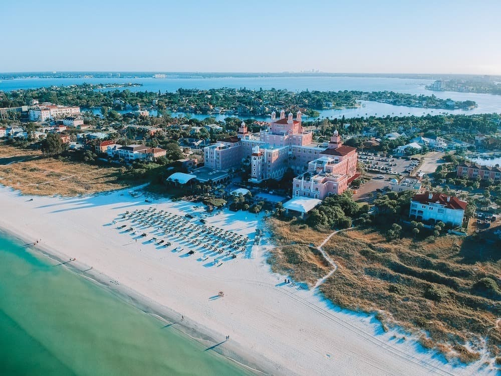 Aerial view of the Pink Palace or the DonCesar hotel in St. Petersburg, Florida.